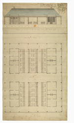 [Plan of and] Elevation of East Front next the Center Avenue of the new Market Oxford